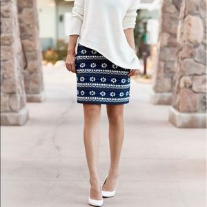 J crew - navy mini jacquard pattern skirt